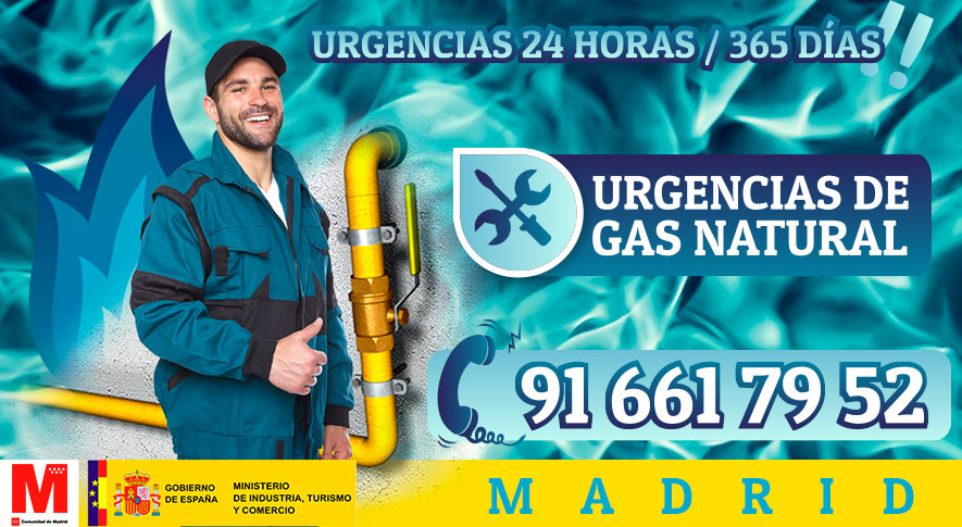 Urgencias de gas natural en Madrid